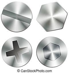 Metal brillantes tornillos y tornillos
