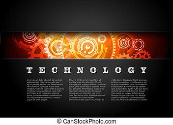 metal, encendido, tecnología, engranajes, panel