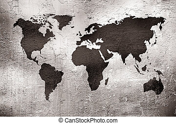 metal, mapa, grunge, textura, mundo, encima
