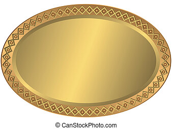 Metal Oval dorado y placa de bronce