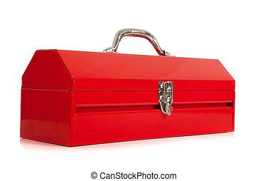 metal, rojo blanco, caja de herramientas