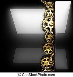 metal, rueda dentada, pulido, engranajes, plano de fondo