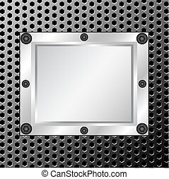 Metal textura con marco plateado