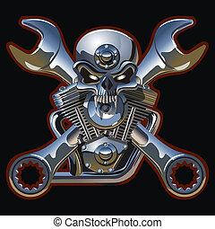 Metall cráneo con motor