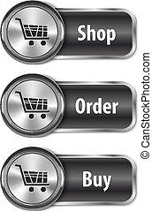Metallicas y brillantes elementos web/botones para comprar en línea