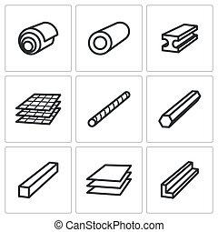 metalurgia, conjunto, productos, iconos
