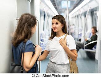 metro, emparéjese retrato, coche