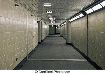 metro, pasillo, garrage