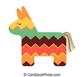 mexicano, coloreado, pinata