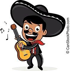 mexicano, guitar., mariachi, ilustración, vector, juego, hombre