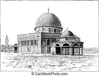 Mezcla de omar, jerusalem, grabado añejo.