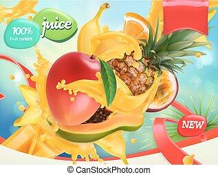Mezcla frutas. Splash de jugo. Mango, plátano, piña, papaya. vector 3D realista, diseño de paquetes
