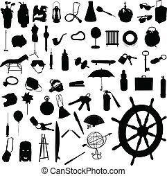 mezcla, siluetas, vector, objeto