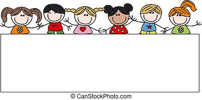 mezclado étnico, niños, feliz