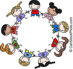 mezclado, amistad, niños, étnico