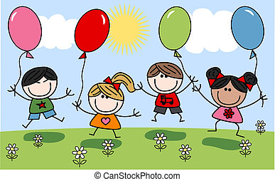 mezclado, niños, feliz
