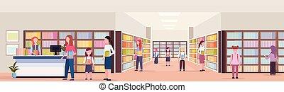 Mezclar a los estudiantes de carreras pidiendo libros prestados de bibliotecas modernas de bibliotecas modernas leyendo el concepto de conocimiento de la educación con toda la longitud horizontal