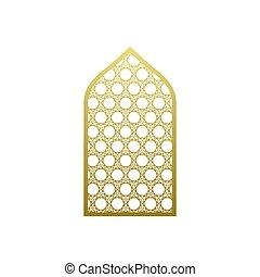 mezquita, árabe, islámico, ventana, estilo, puerta, vector, pattern., ornamento, árabe, ramadan