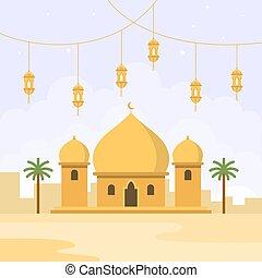 mezquita de diseño plano
