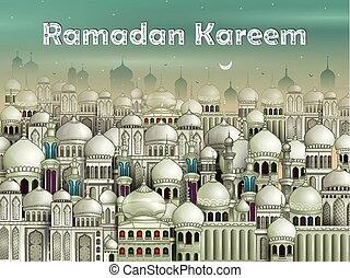 Mezquita decorada en eid mubarak (Happy eid) antecedentes ramadan