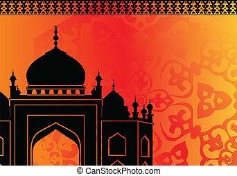 mezquita islámica en naranja