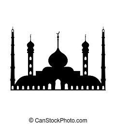 mezquita, mezquita, islam, adoración, silueta, icono, musulmán, lugar, grande, vector, alá, señal