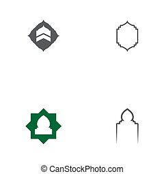 mezquita, vector, icono, ventana, conjunto, plantilla, diseño