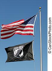 mia, pow, bandera