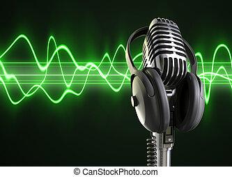 micrófono, audio, ondas, y