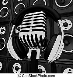 micrófono, auriculares, entretenimiento, actuación, músico, altavoces, grabación, o
