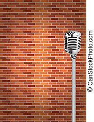 Micrófono con fondo de pared