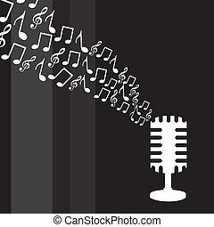 Micrófono con notas musicales