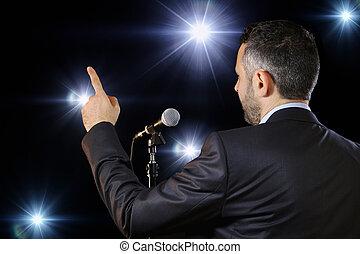 micrófono, orador, oratoria, vista trasera