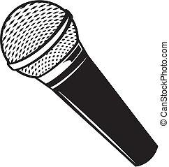 micrófono, vector, clásico