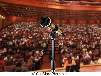 micrófono, vestíbulo, seminario