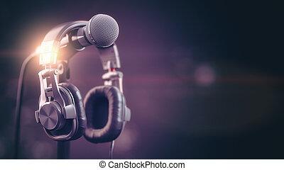Micrófono y auriculares... audio, música, antecedentes multimedia.