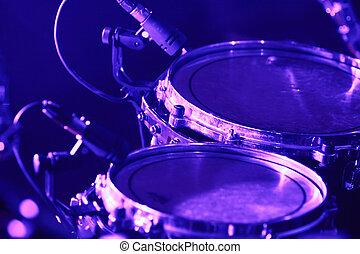 micrófonos, conjunto, tambor