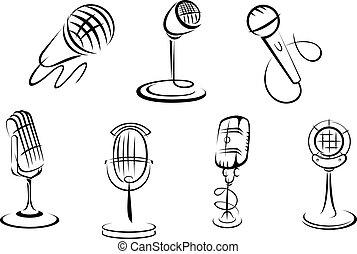 micrófonos, dibujos, retro
