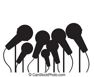micrófonos, silueta, múltiplo
