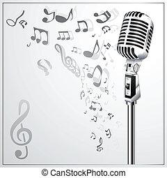 micro, musical, plano de fondo, retro