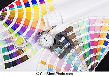 micrometer., concepto, prepress, diseño, lente, pantone