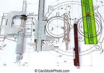 Micrometro, caliper, lápiz mecánico, brújula y regla de plantilla en el plano.