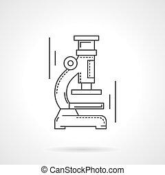 Microscopio línea plana de diseño icono vectorial