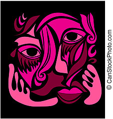 miedoso, arte, cara abstracta