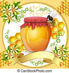 miel, abejas, tarro, plano de fondo