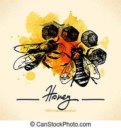 miel, bosquejo, ilustración, mano, acuarela, plano de fondo, dibujado