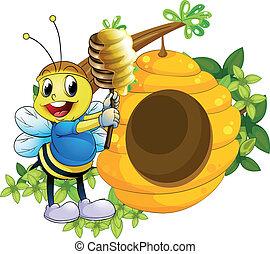 miel, colmena, feliz, juego, abeja