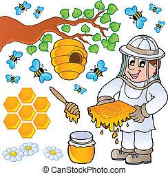 miel, tema, colección, abeja