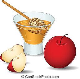 miel, vidrio, hashanah, rosh, manzanas