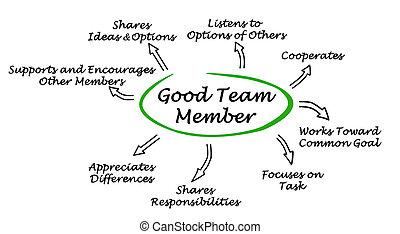 miembro, características, bueno, equipo